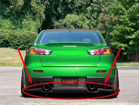 mitsubishi lancer evolution  varis style rear diffuser