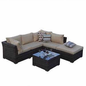 Jicaro rustic dark brown 5 piece outdoor wicker sectional for Jicaro 5 piece outdoor wicker sectional sofa set