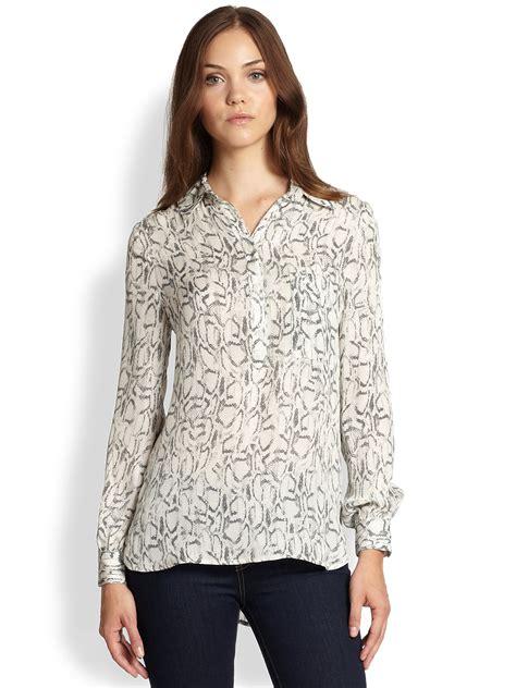 haute hippie blouse haute hippie snakeprint silk henley blouse in swan black