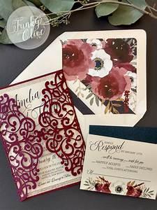 burgundy navy gold laser cut wedding invitation package With wedding invitation sample maroon
