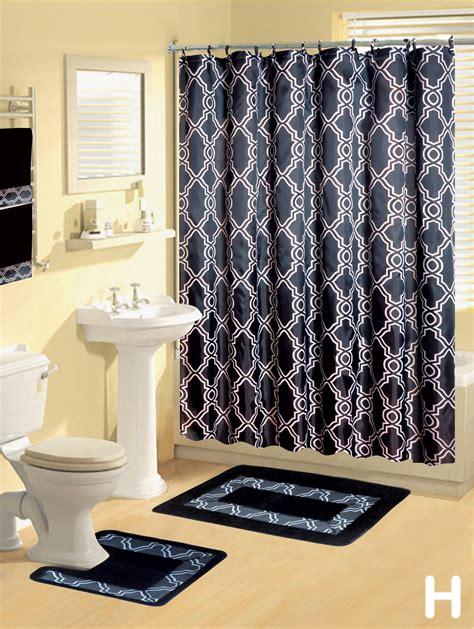 Modern Bathroom Rugs And Towels by Shower Curtains 17 Pcs Set Modern Bath Mat Contour Rug