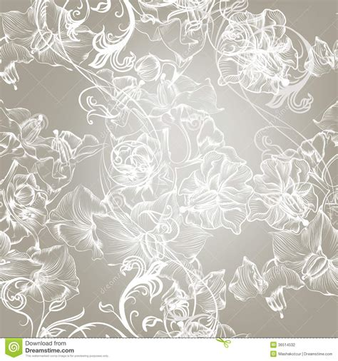 Elegant Floral Seamless Pattern With Flowers Stock