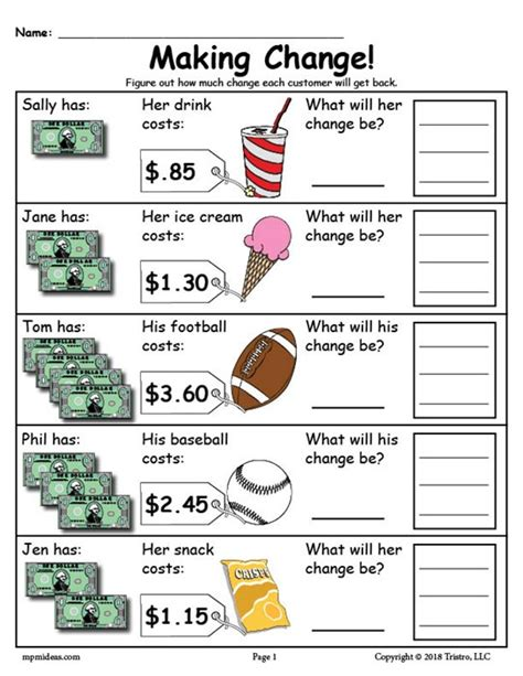 free printable change money worksheets 2 versions