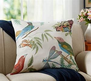fauna print botanical pillow cover pottery barn With botanical print pillows