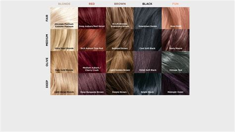 loreal feria hair color chart hair dye colors chart world of reference