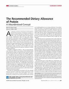 The Recommended Dietary Allowance of Protein: A ...