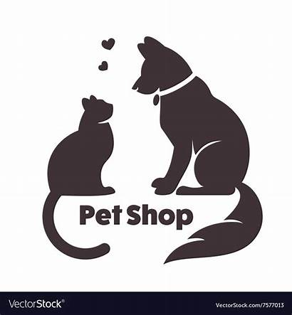 Cat Dog Vector Silhouette Pet Signs Veterinary