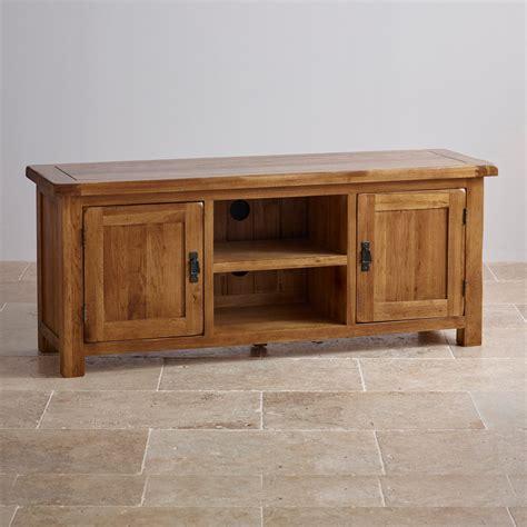 original rustic wide tv cabinet  solid oak oak