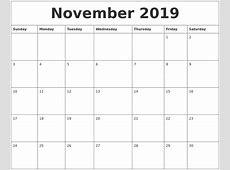November 2019 Calendar PDF year printable calendar