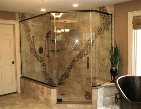 Rustic Pebbled Shower-contemporary-bathroom