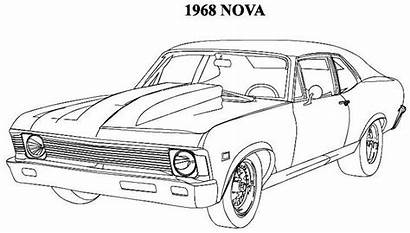 Coloring Muscle Classic Cars Truck Drawings Pencil