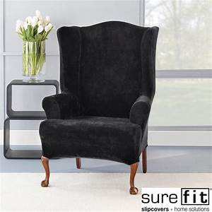 Stretch plush black wing chair slipcover contemporary for Modern armchair covers