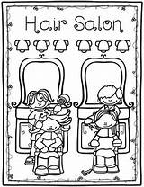 Hair Salon Coloring Matching Flashcards Activities Cc sketch template