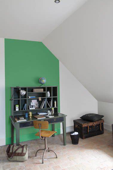 peinture pour bureau peinture verte et grise pour repeindre meuble bureau et mur