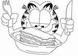 Garfield Coloring Lasagna Comic Strip Printable Fork Drawing Cartoon Spoon Sheets Cartoons Getdrawings Knife Cat Template Getcolorings Comics Sketch Colorings sketch template