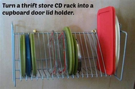 Thrift Store Cd Rack Makes A Great Plastic Ware Lid