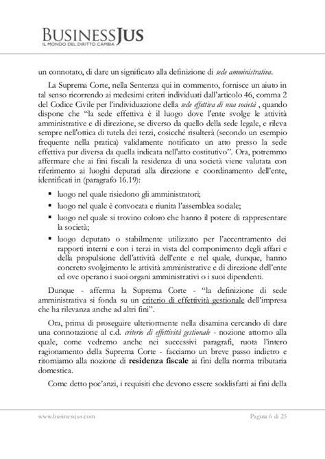 Attestato Di Residenza Fiscale Soggetti Diversi Dalle Persone Fisiche by Tra Elusione Fiscale E Libert 224 Di Stabilimento Nei Casi Di