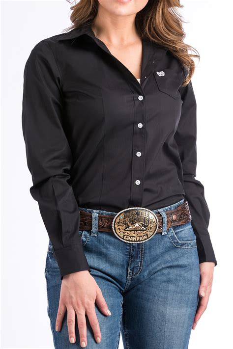 Cinch Jeans Womens Solid Black Button Down Western Shirt