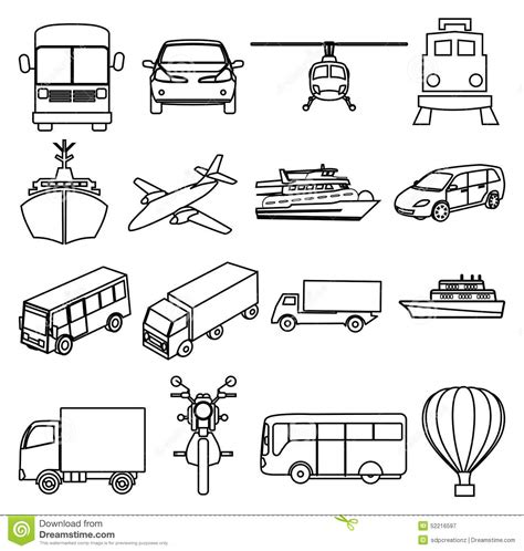 land transportation clipart black and white transport vehicles line icons set stock vector