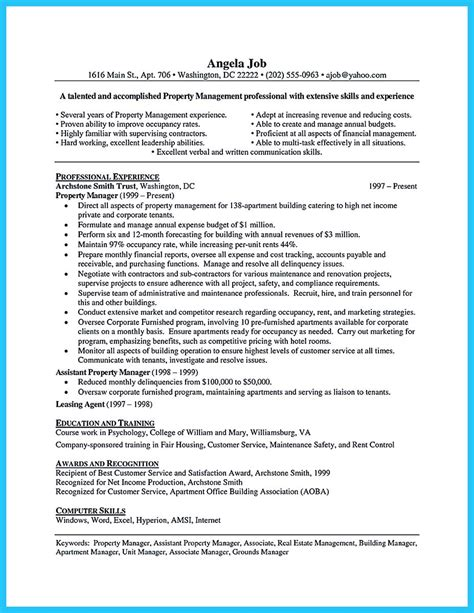 Resume Format For Assistant Manager by Writing A Great Assistant Property Manager Resume