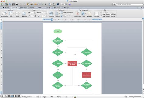 microsoft word  flowchart template bgitu