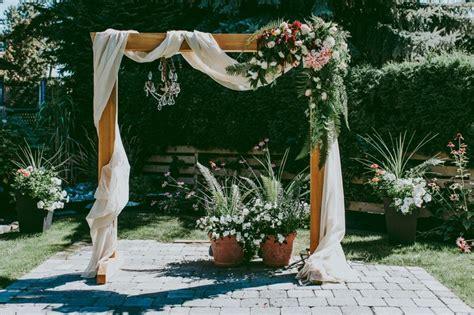 diy wooden wedding arch  flower garland