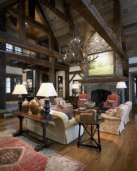 Country Inspired Wisconsin Home by The Lofted Ceilings And Dramatic Fireplace Lodge