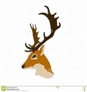 Deer Head Vector Flat Style Cartoon Vector | CartoonDealer ...