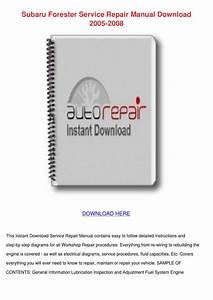 Subaru Forester Service Repair Manual Downloa By