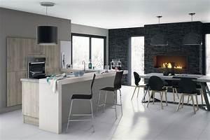 idees pour delimiter la cuisine ouverte sur le salon With idee deco cuisine avec chaise salle a manger noire design