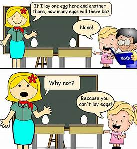 """Teacher: If I lay one egg here and another there, how ..."