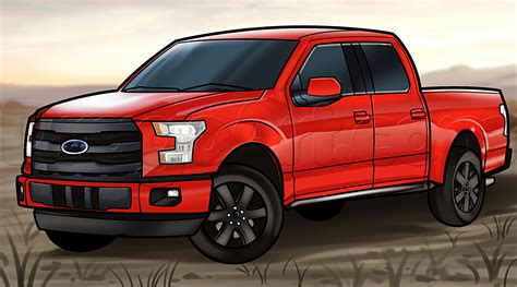 draw    ford pickup truck step  step