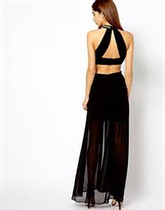 river island river island high neck cut out back maxi