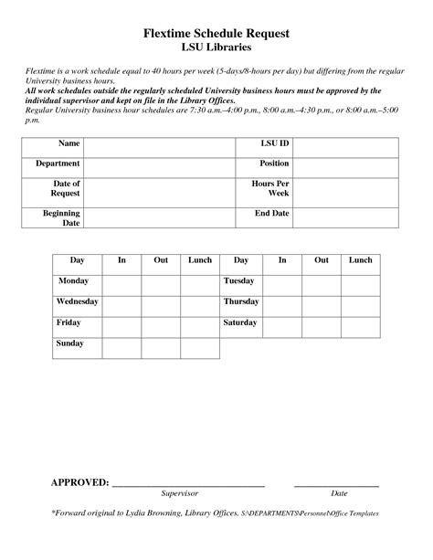 alternate work schedule form alternative work schedule request form bing images