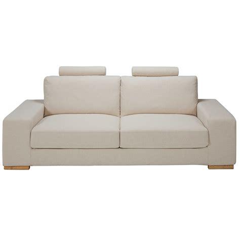 canape concertible canapé convertible avec têtières 3 places en tissu beige