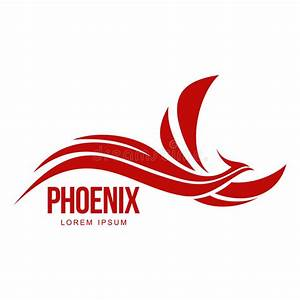 Stylized Graphic Phoenix Bird Flying With Expanded Wings ...