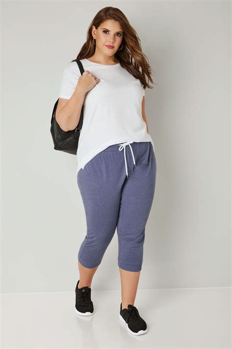 Blue Cropped Joggers With Elasticated Waistband, Plus Size