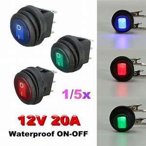 12v 20a Led Rocker On  Off Spst Switch Round For Car Boat