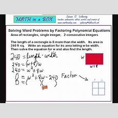 Solving Word Problems By Factoring Polynomials  Area Of A Rectangle Youtube
