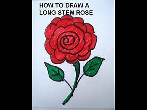 LEARN TO DRAW FOR KIDS, draw a long stem rose. Simple ...