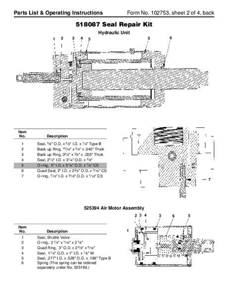 spx otc 5110 air hydraulic floor service jack owners manual