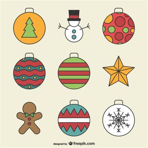 christmas ornaments drawings vector free download