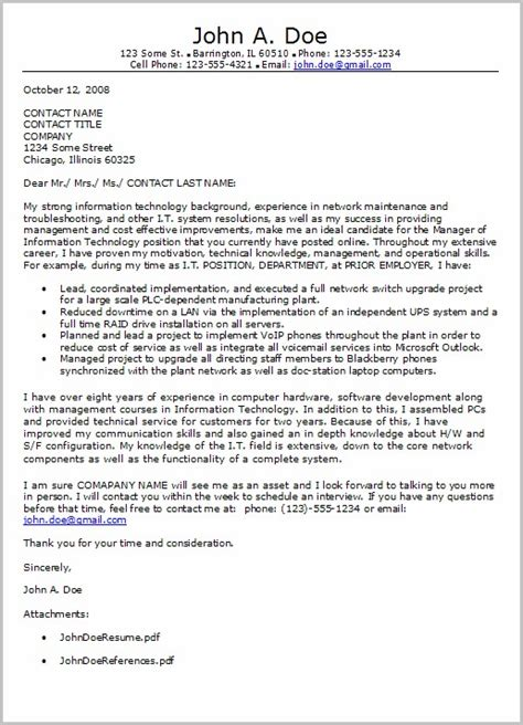 Chronological Resume Information Technology by Cover Letter Exles For Resume Information Technology