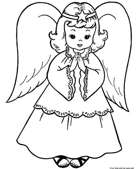 christmas angels coloring page print   kids