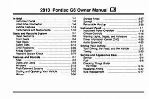 2010 Pontiac G6 Owners Manual