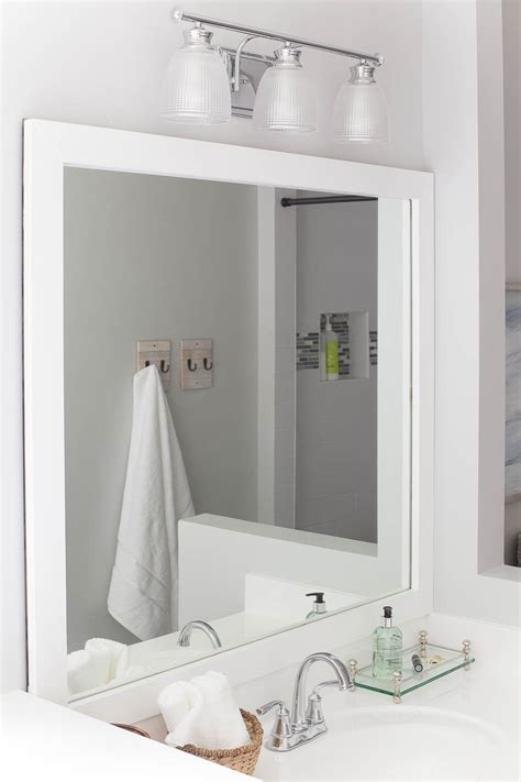 Bathroom Mirrors White Frame by How To Frame A Bathroom Mirror Easy Diy Project