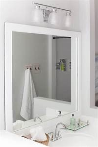frames for mirrors How to Frame a Bathroom Mirror - Easy DIY project