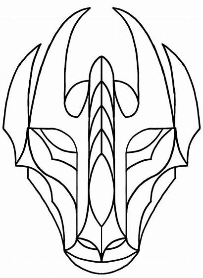 Dragon Mask Chinese Template Face Stained Glass