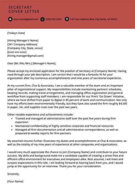 secretary cover letter  resume genius