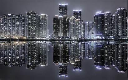 Night Korea Building Landscape Cityscape Skyscraper Lights